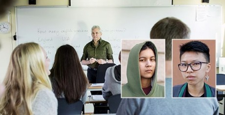Bild på ett klassrum samt två små bilder på författarna av texten Jon och Ella