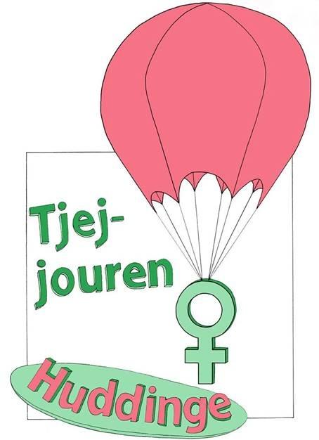 "rosa luftbalong lyfter upp ett grönt kvinnotecken. Texten ""Tjejjouren Huddinge"""