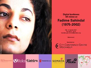 Bild på Fadime och info om konferensen till hennes minne