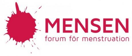 """Vit bakgrund, en rosaröd fläck och texten """"MENSEN forum för menstruation"""""""