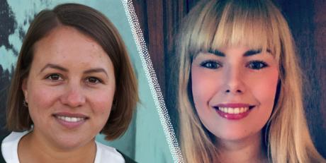 Närbild på Liinu Diaz Rämö och Malin Flemström