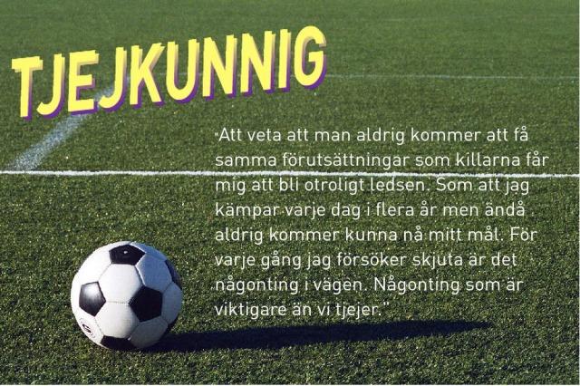 """Foto: gräsmatta som bakgrund. Till vänster nederst är det en fotboll. Till vänster överst står det: """"Tjejkunnig"""". Till höger står ett citat på åtta rader hämtat från texten."""
