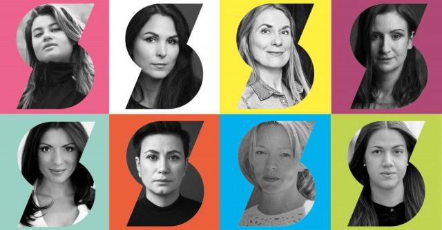 närbild på Kakan Hermansson, Nina Hemmingsson, Annika Lantz, Birgitta Ohlsson, Alexandra Pascalidou, Elcim Yilmaz, Lina Wolff och Ida Östensson.