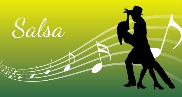 """grön bakgrund, vita noter, """"Salsa"""" skrivet med vit text och en svart kontur av ett par som dansar."""