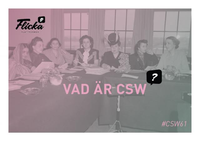 """ST: Foto från ett av CSWs första möten, kvinnor från olika nationaliteter sitter samlade.Flickaplattformens logga och texten """"Vad är CSW?"""" och """"#CSW61""""."""
