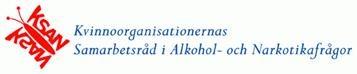 """vit bakgrund, """"Kvinnoorganisationernas Samarbetsråd i Alkohol- och Narkotikafrågor"""" skrivet i blått. KSANS röda logga där KSAN blir vingarna till en fjäril"""
