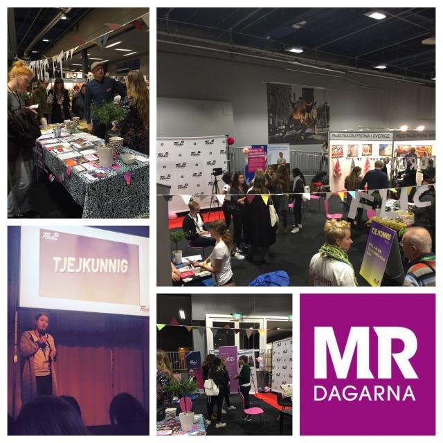 Foto: ett collage med fem bilder från Flickaplattformens torg och seminarium på MRdagarna