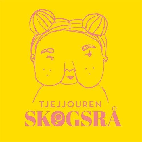 """Tjejjouren Skogsrås logotype. Gul bakgrund med en tjejer på, hon har håret uppsatt i bollar på huvudet och stora kinder. Det står """"Tjejjouren Skogsrå"""" med rosa text."""