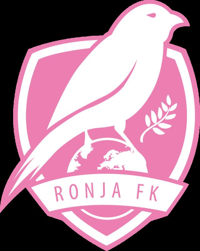 """Ronjabollens logotype, en rosa rovfågel som står på Jorden och texten """"Ronja FK"""""""