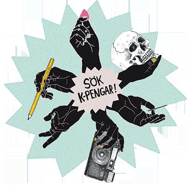 """Illustration på sex armar som håller i en penna, en ring, en döskalle, en nål och en kamera. I mitten står """"Sök pengar"""""""