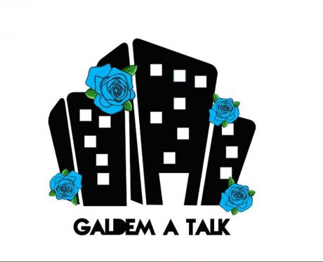 Vit bakrund, svarta höghus, blåa rosor, Galdem A Talk-s logga