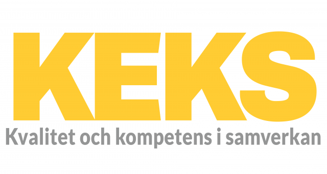 """Foto: KEKS logga. Vit bakgrund med texten KEKS i gult och under det står det i grått """"kvalitet och kompetens i samverkan"""""""